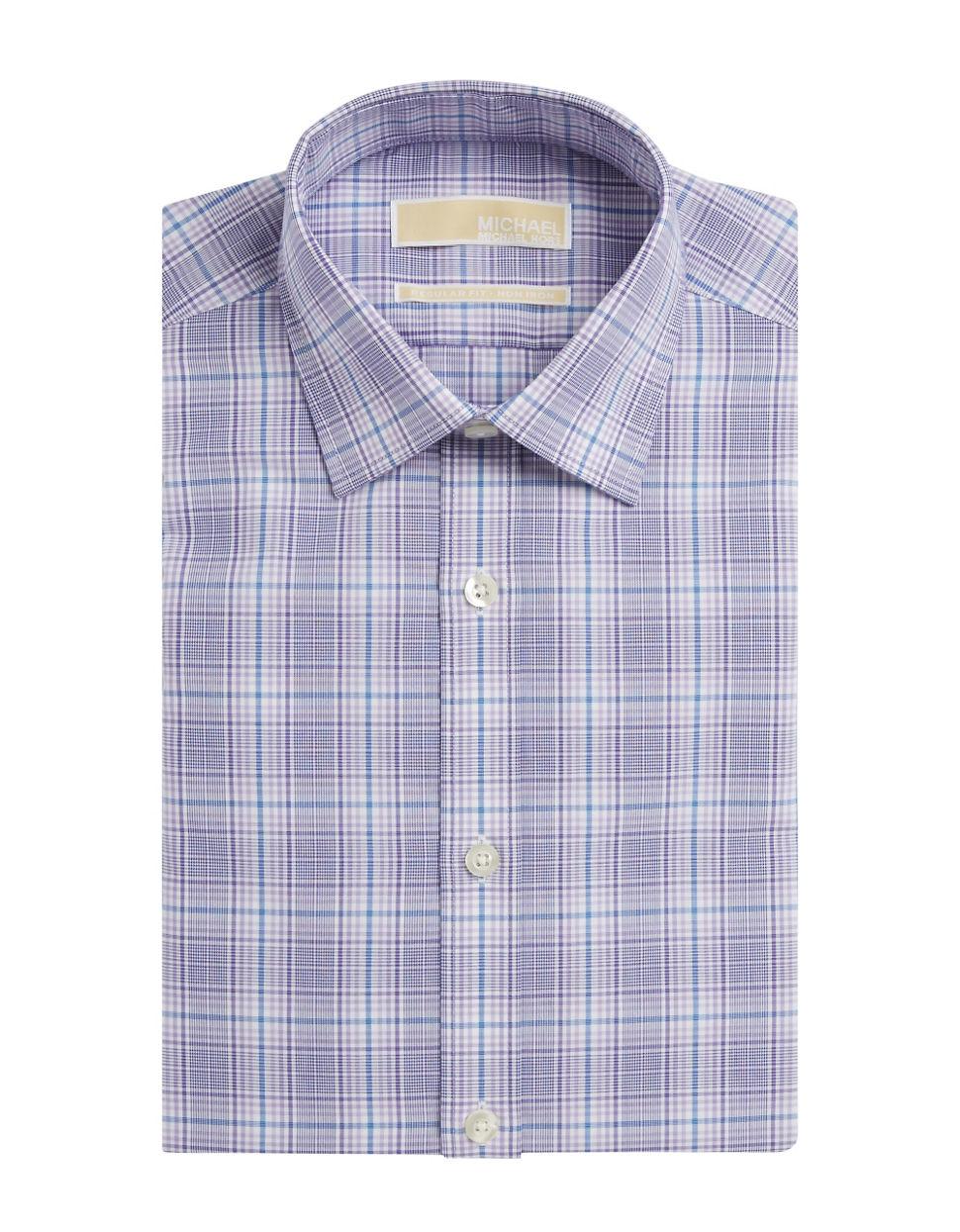 Michael Michael Kors Plaid Cotton Dress Shirt In Purple