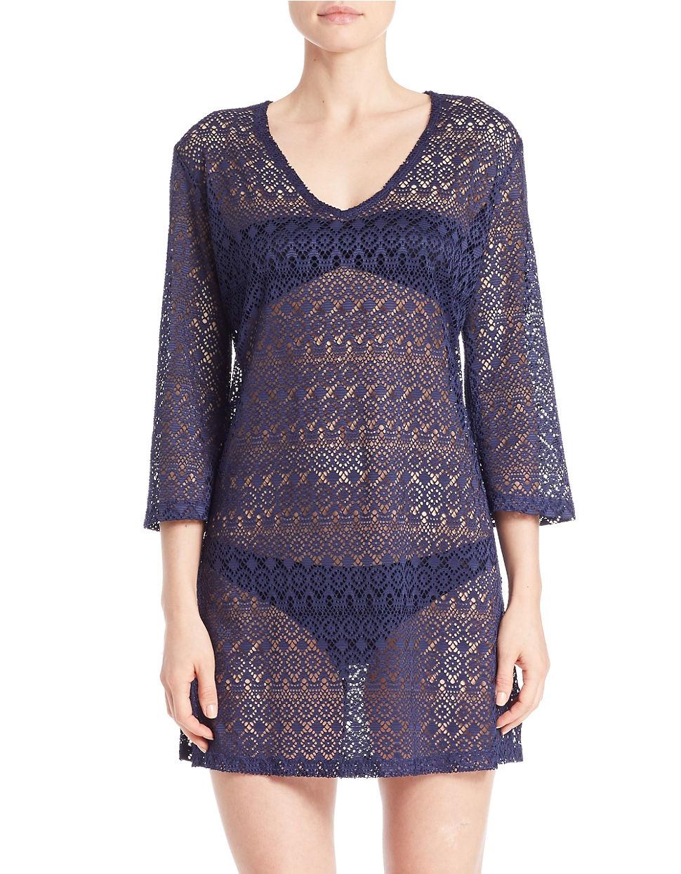 J valdi Mesh Dress Cover-up in Blue | Lyst
