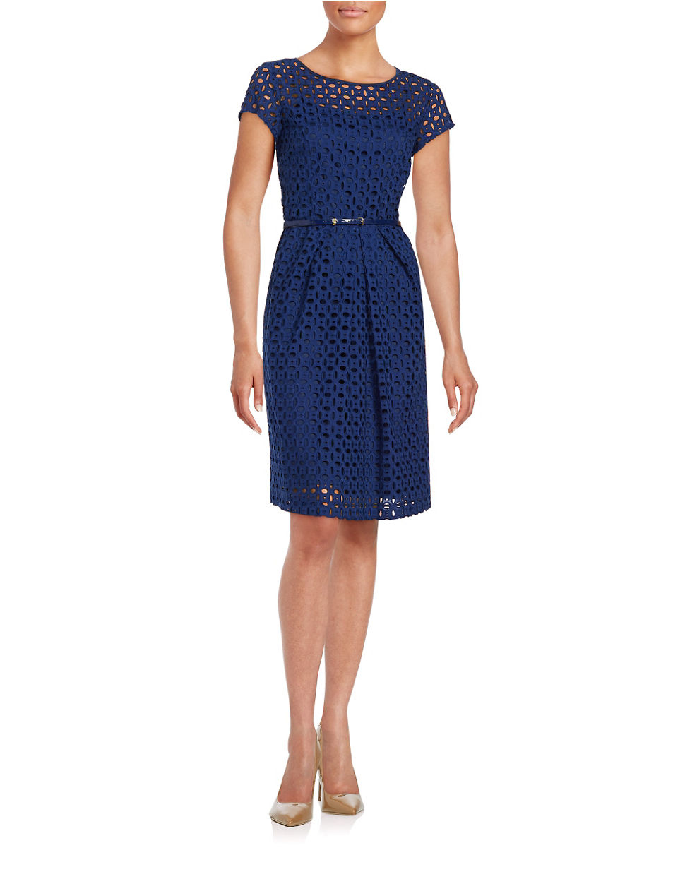 tracy belted eyelet a line dress in blue lyst