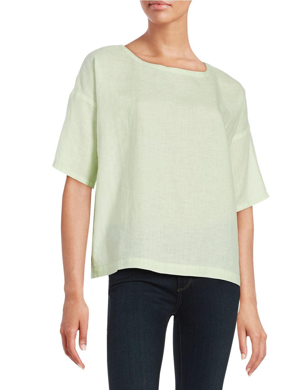 Eileen fisher petite organic cotton and hemp tee in green for Eileen fisher organic cotton t shirt