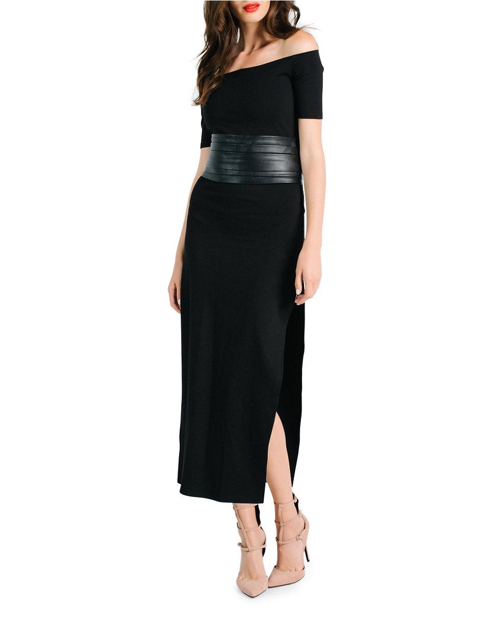 Leather corset silk maxi dress