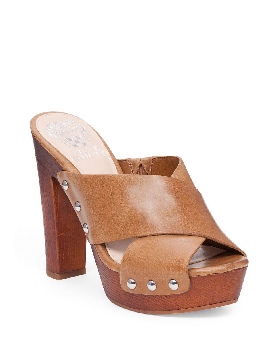 vince camuto elora denim platform sandals in brown lyst