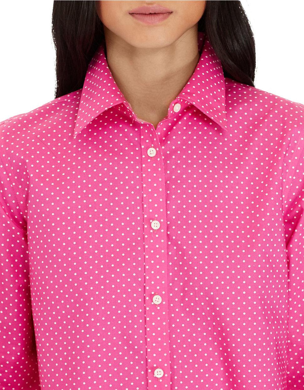 Lauren By Ralph Lauren Polka Dot Cotton Shirt In White Lyst