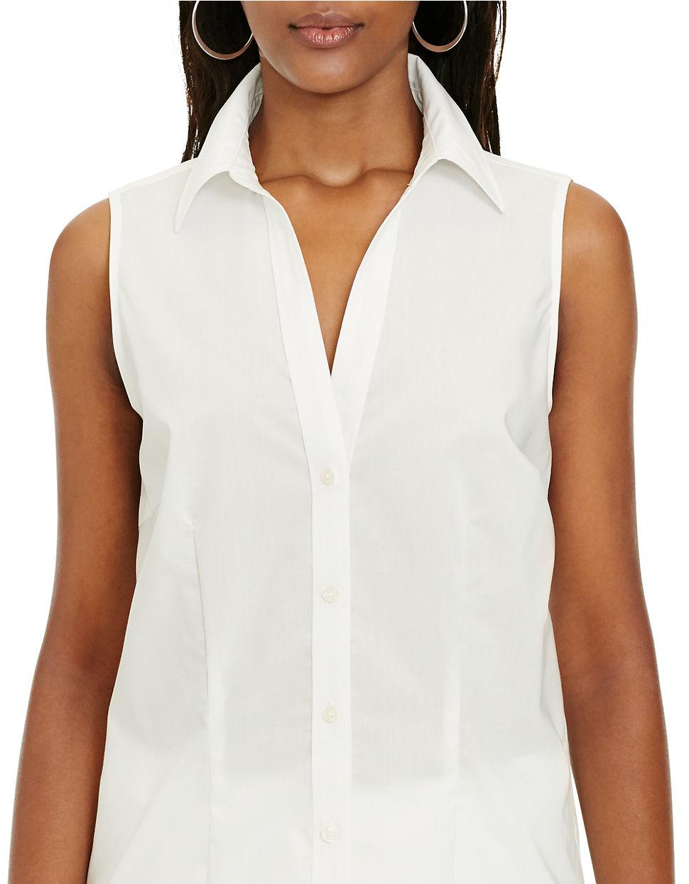 lauren by ralph lauren sleeveless cotton button down shirt