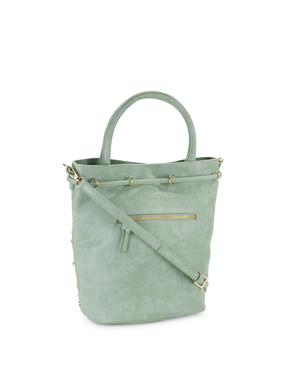 fa74e34f49 Steven by Steve Madden - Green Benny Studded Faux Leather Bucket Bag - Lyst