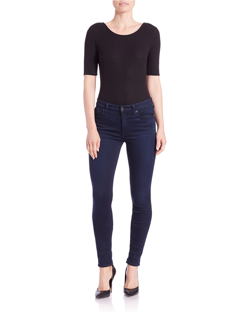 Lord Taylor Ribbed Knit Bodysuit In Black Lyst