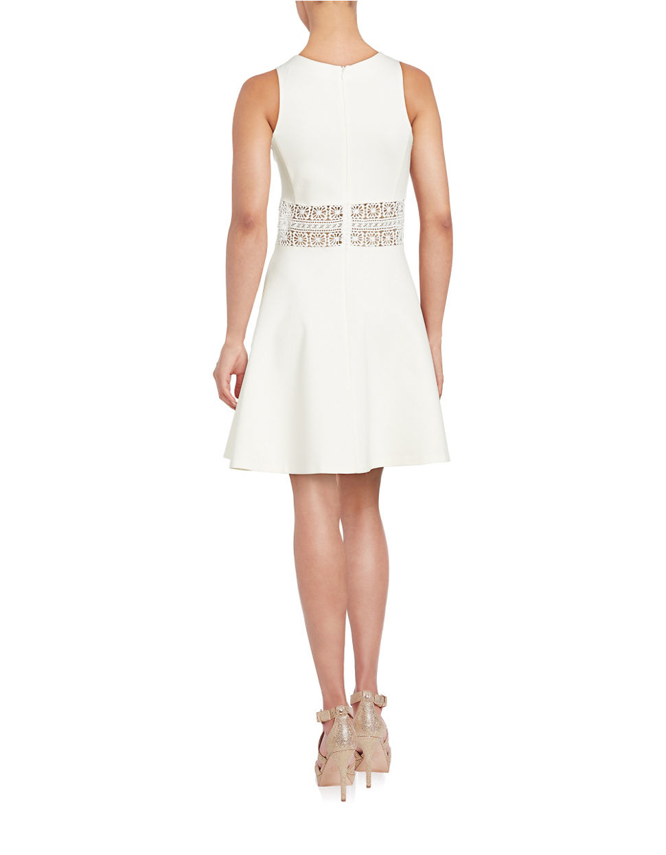 lord taylor floral lace waist dress in white lyst