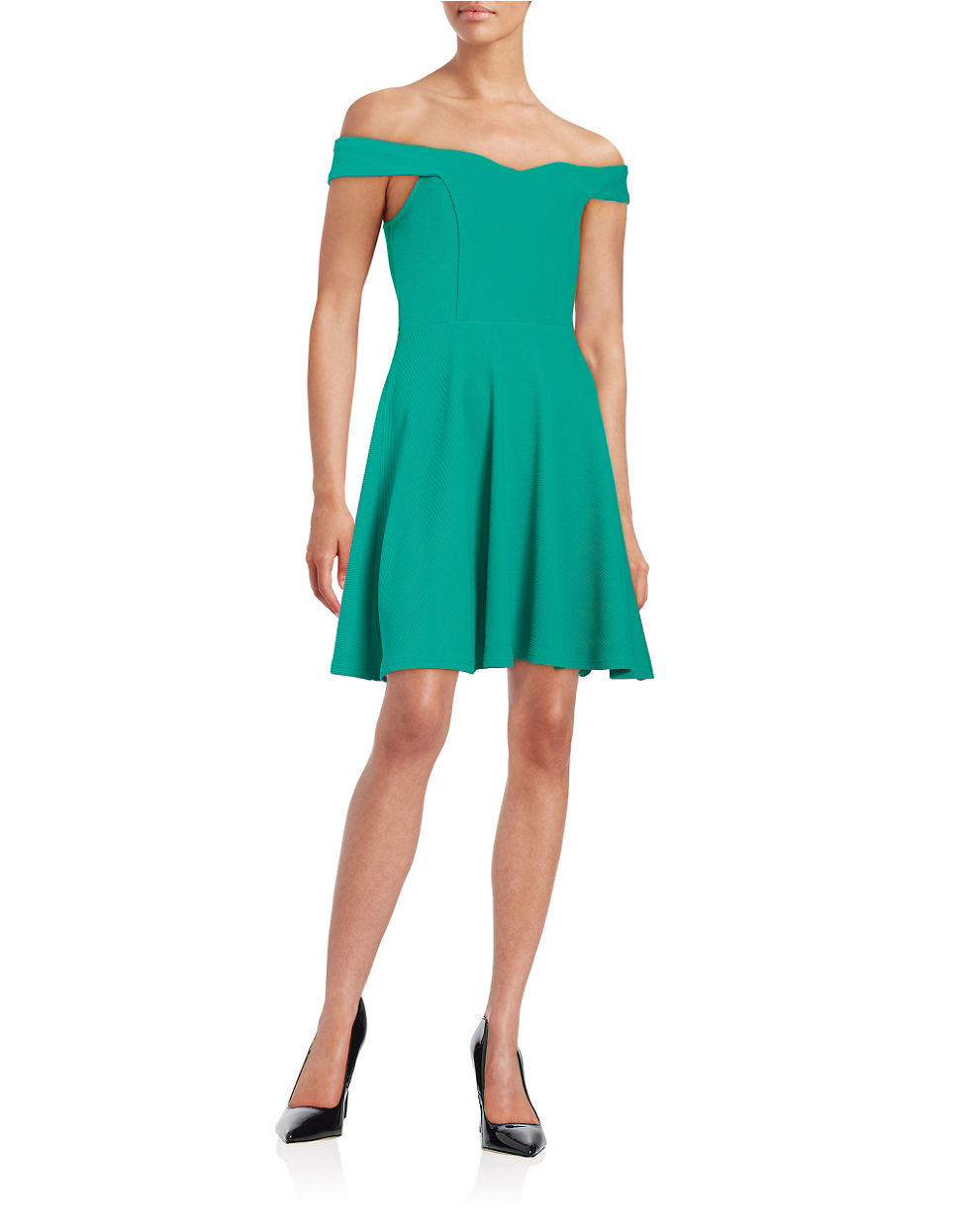 Lyst Lord Taylor Textured Fit And Flare Dress In Green