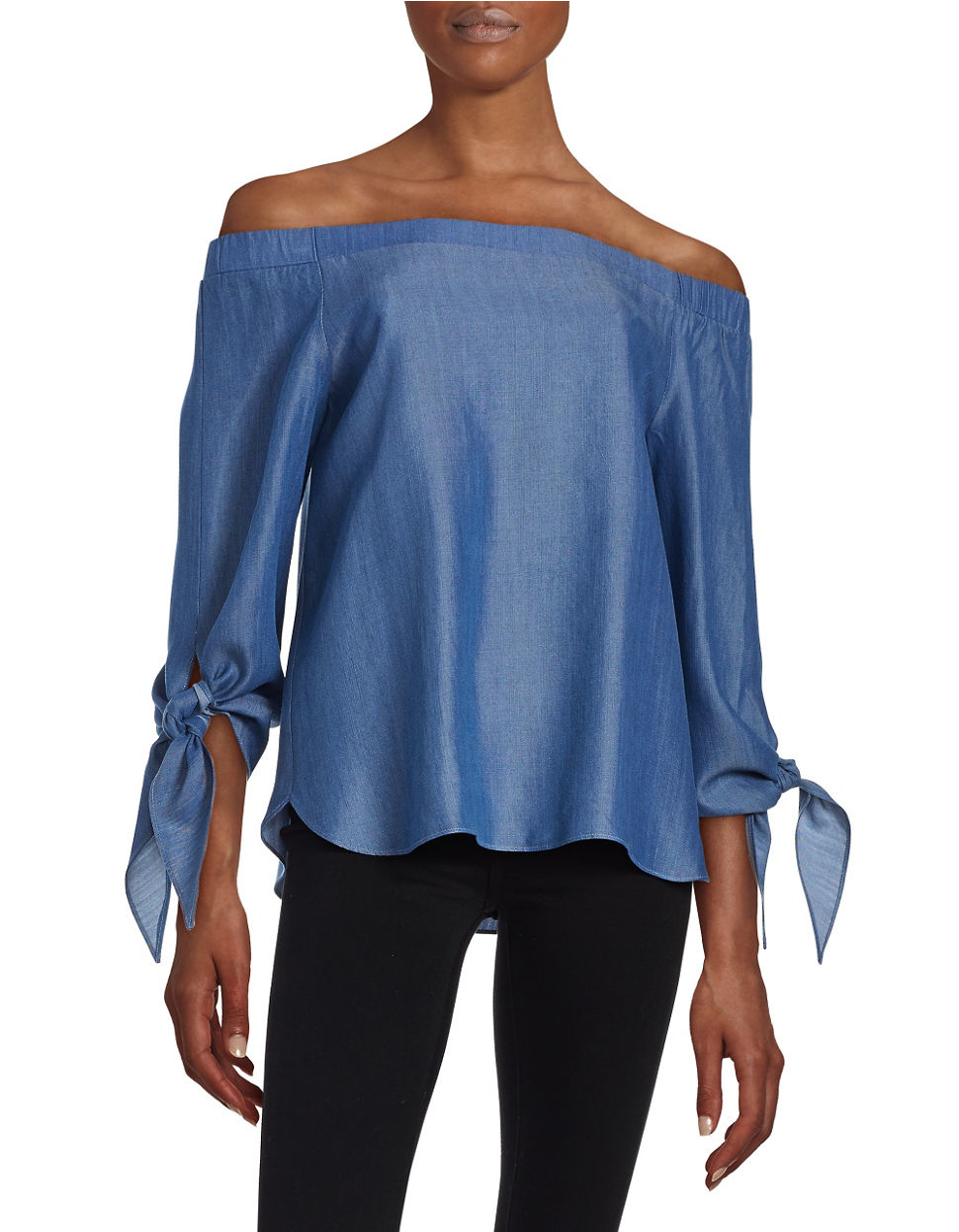 Lord Taylor Off The Shoulder Denim Top In Blue Lyst