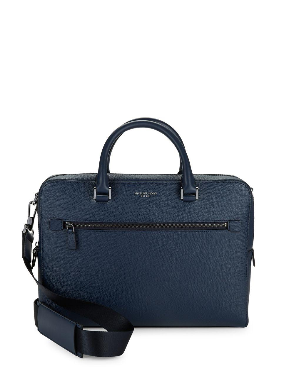 Michael kors Harrison Leather Briefcase in Blue for Men  3b12ba9784210
