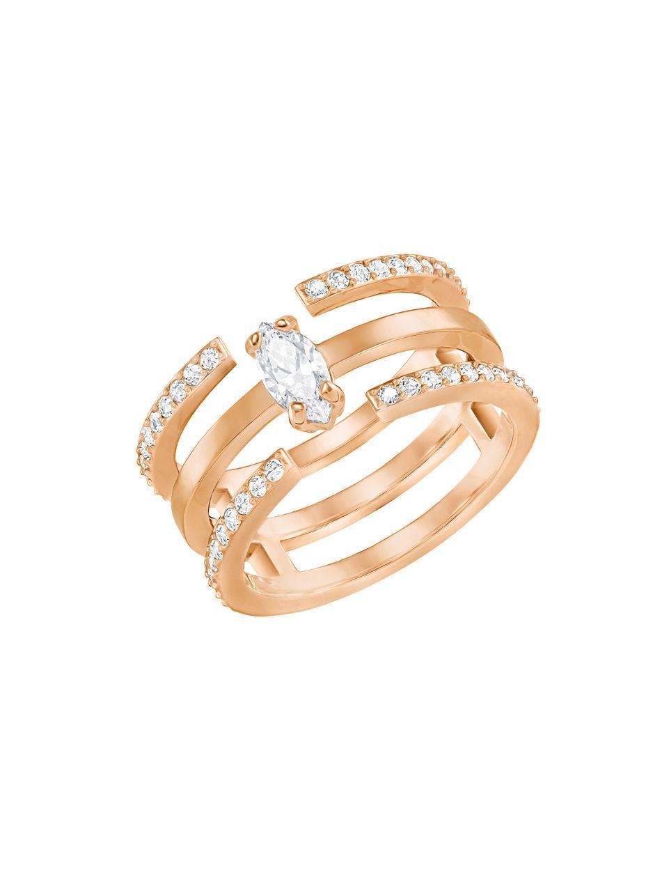 Swarovski Gray Crystal Amp 18k Rose Gold Plated Cutout Ring