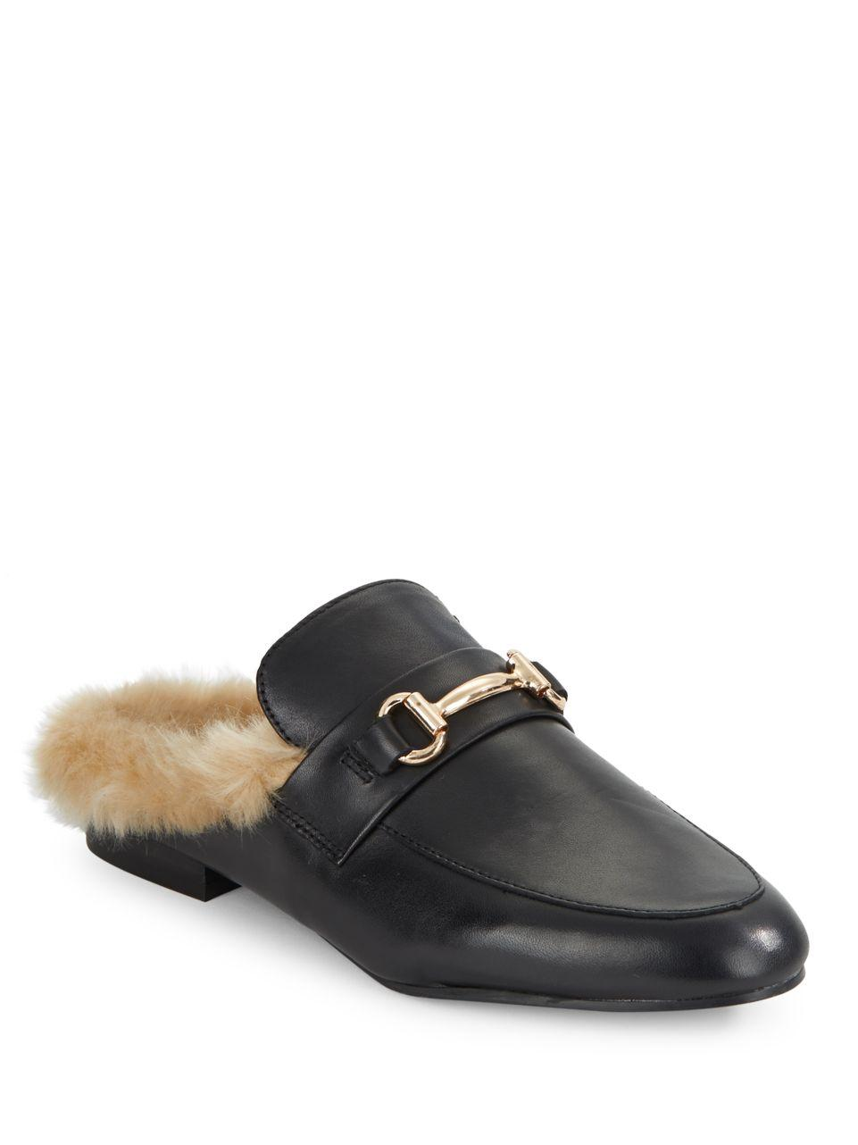 Lyst Steve Madden Jill Leather And Faux Fur Mules In Black