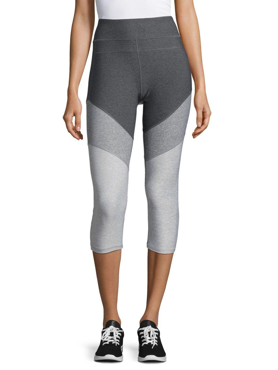lyst calvin klein colorblocked cropped yoga leggings in gray. Black Bedroom Furniture Sets. Home Design Ideas