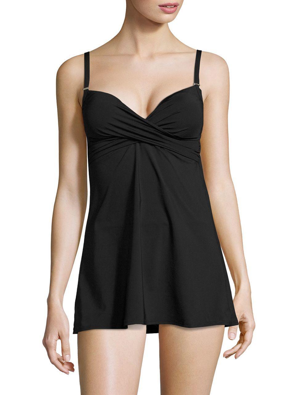 Calvin Klein One Piece Swim Dress In Black Lyst
