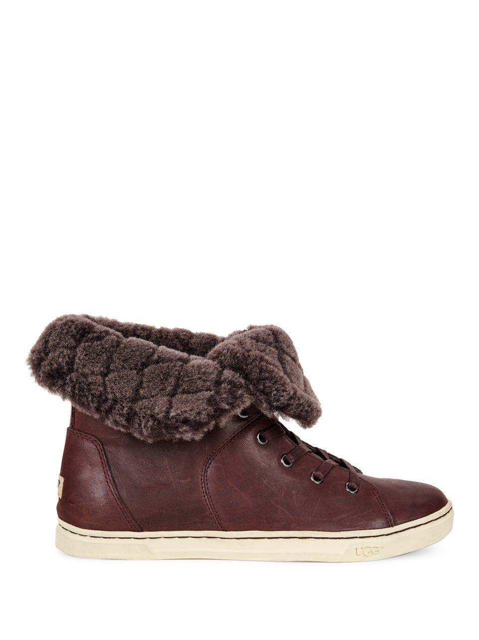 Lyst Ugg Croft Luxe Quilt Shearling Amp Leather Sneakers