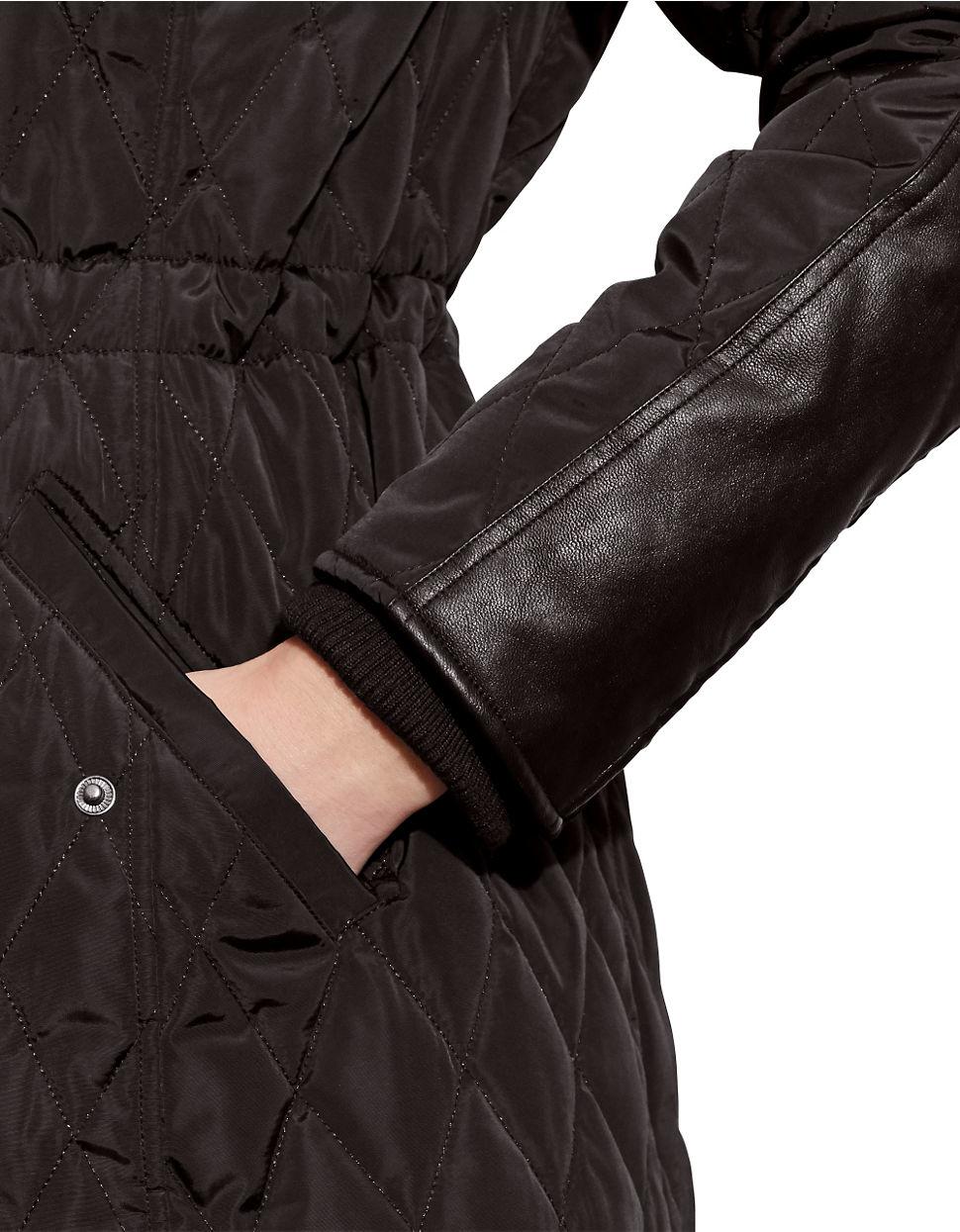 Lauren By Ralph Lauren Zip Off Hood Quilted Jacket In