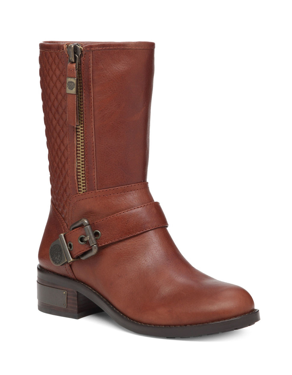 vince camuto whynn moto boot in brown save 20 lyst