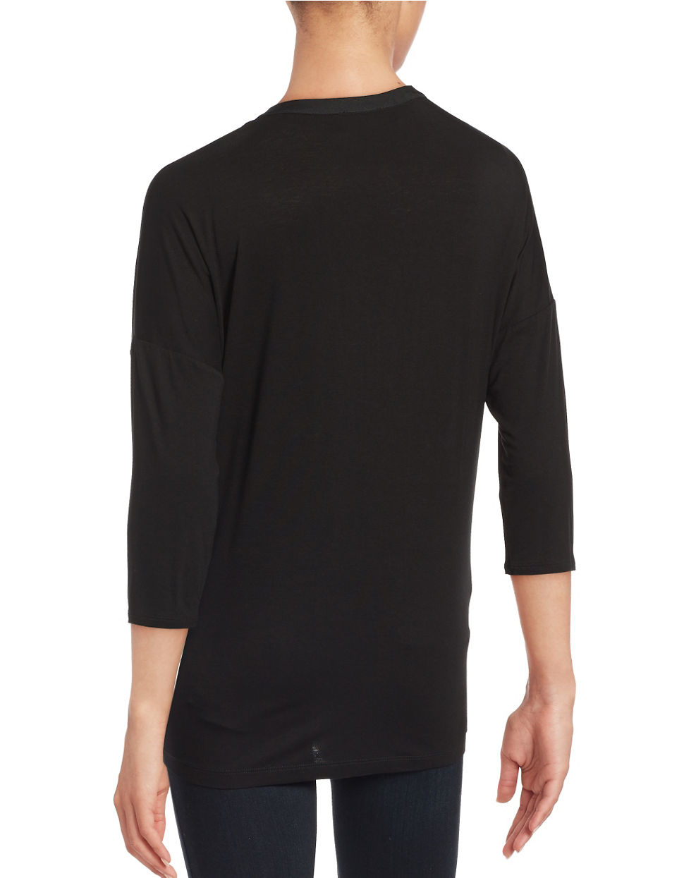 Lyst Lord Taylor Pleated Split V Neck Tee In Black