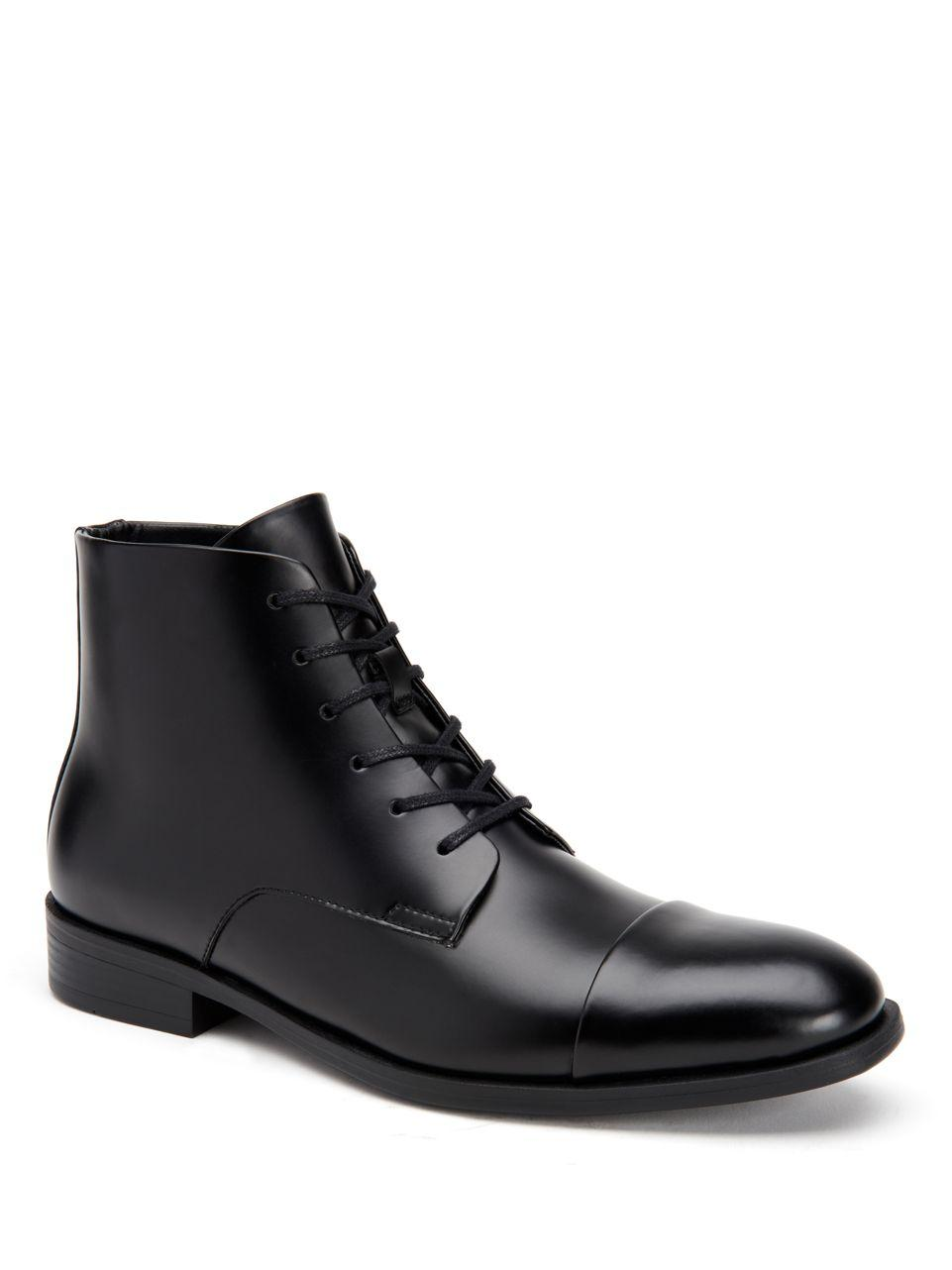 Lyst Calvin Klein Darsey Box Leather Boots In Black For Men