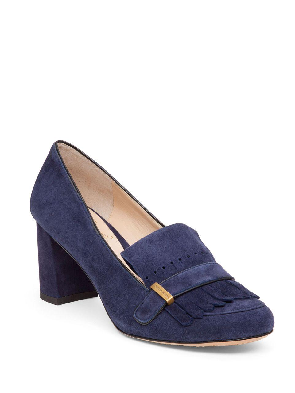 Vince Camuto Triss Block Heel Suede Loafer In Blue Lyst