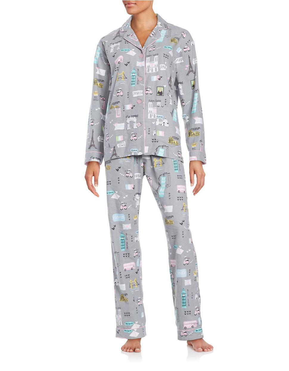 Pj salvage Travel Print Top And Pants Pajama Set in Gray ...