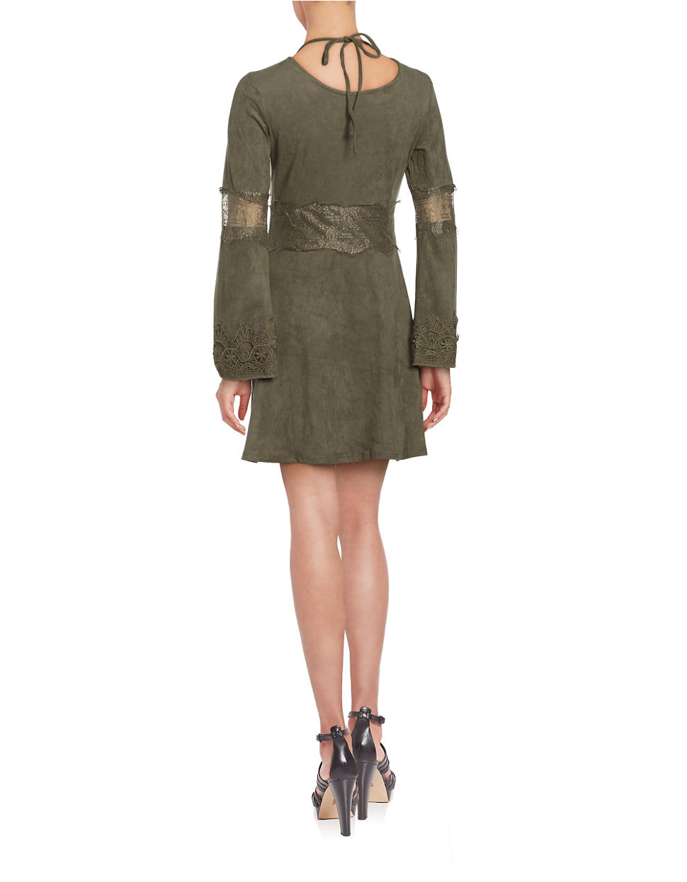 Lord Amp Taylor Faux Suede Long Sleeve Fit And Flare Dress
