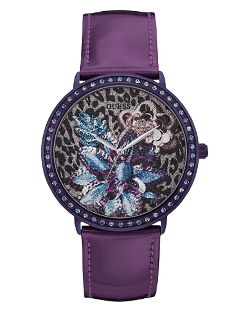 lyst guess floral design leather watch in purple. Black Bedroom Furniture Sets. Home Design Ideas
