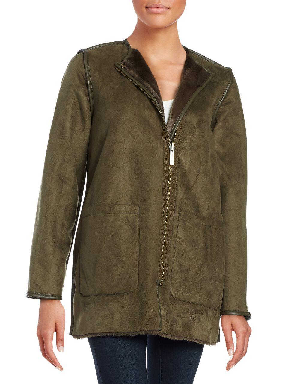 0ae491c10f8 Michael kors Reversible Faux Fur Jacket in Green