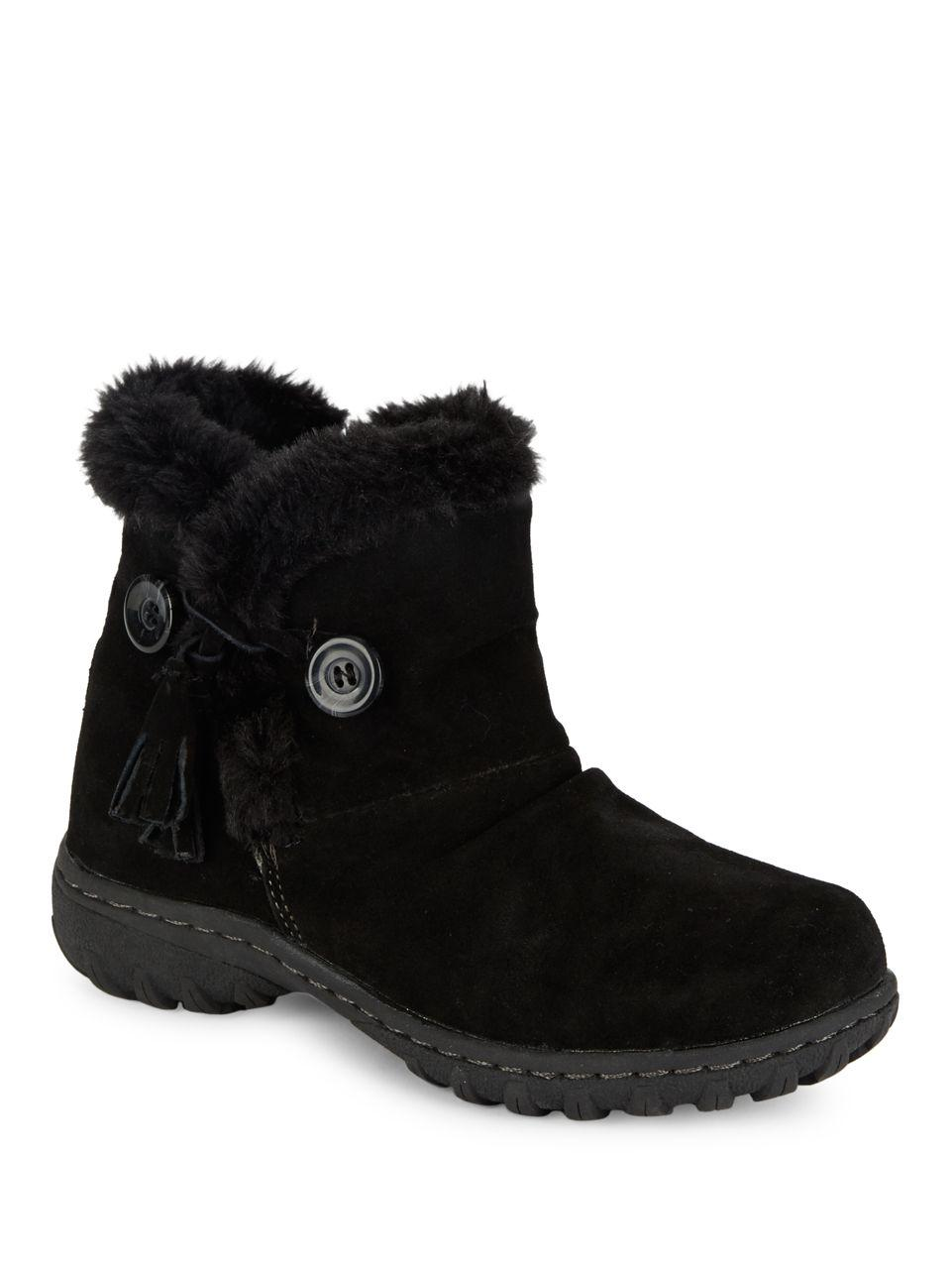 Lyst Khombu Copper Sherpa Lined Suede Ankle Boots In Black