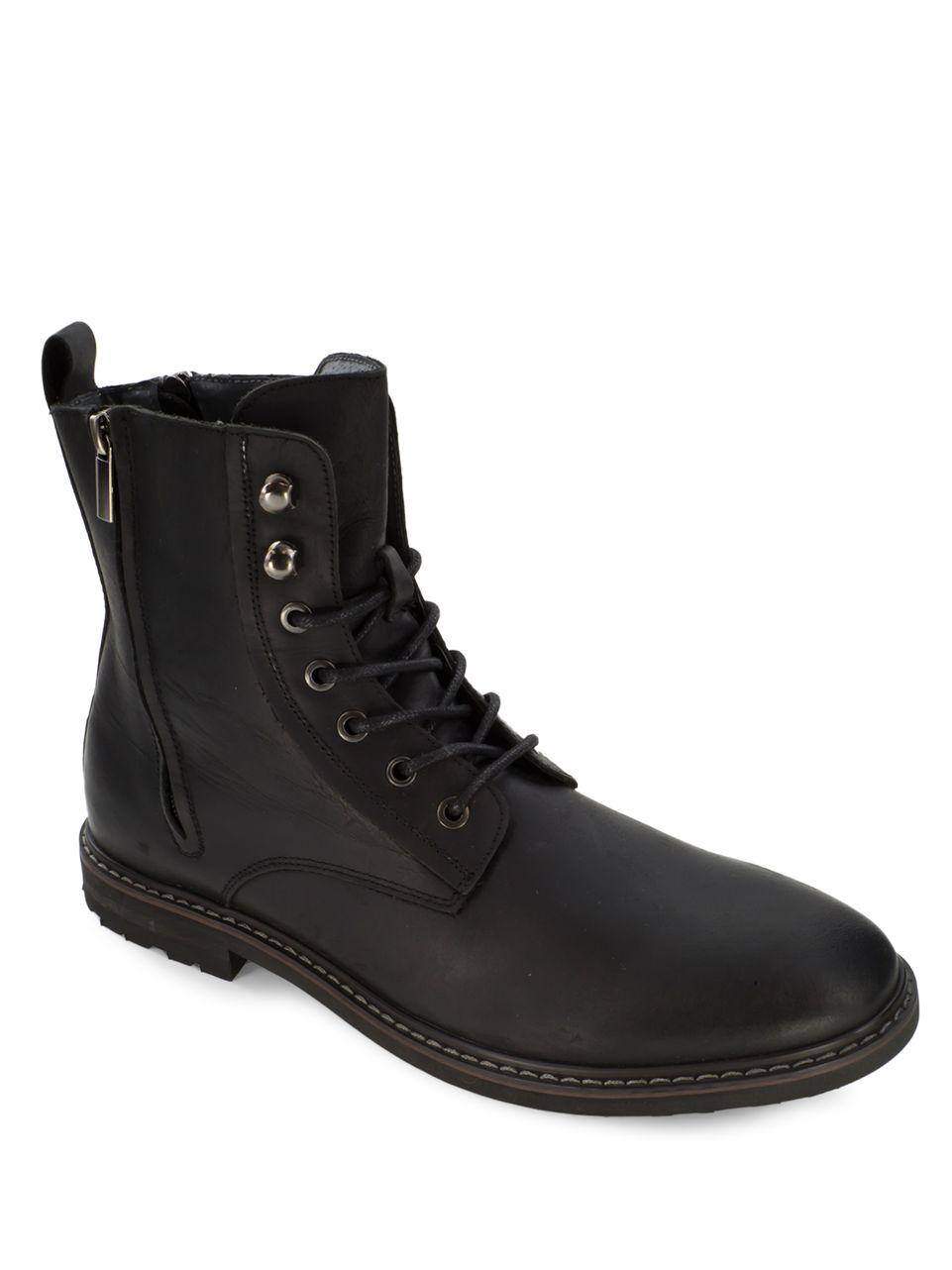deer stags leather plain toe boots in black lyst