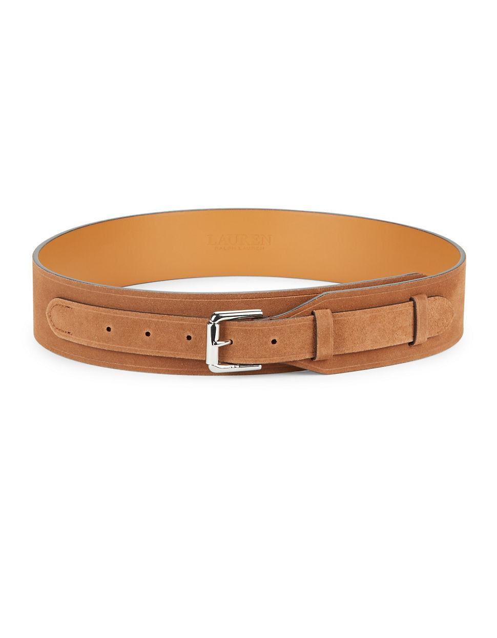 by ralph wide suede belt in brown lyst