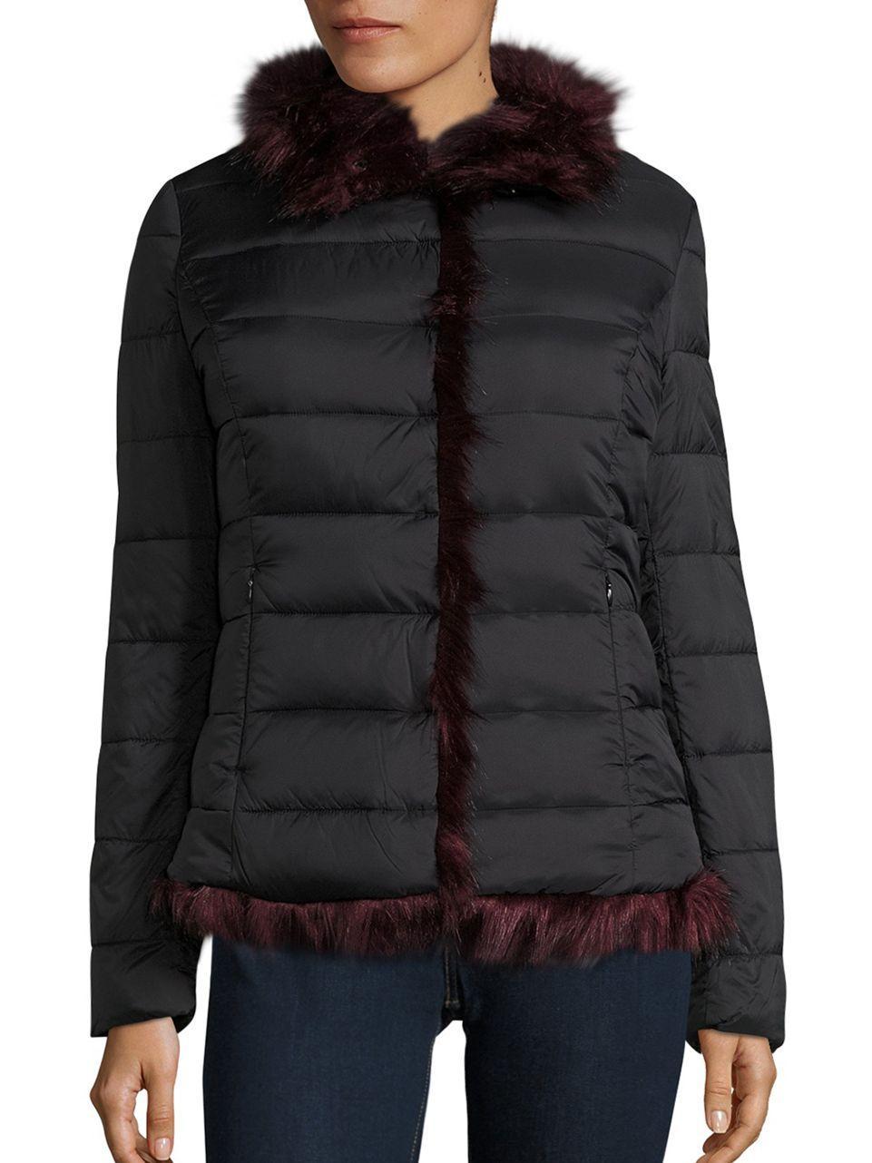 Betsey Johnson Faux Fur Puffer Jacket In Black Lyst