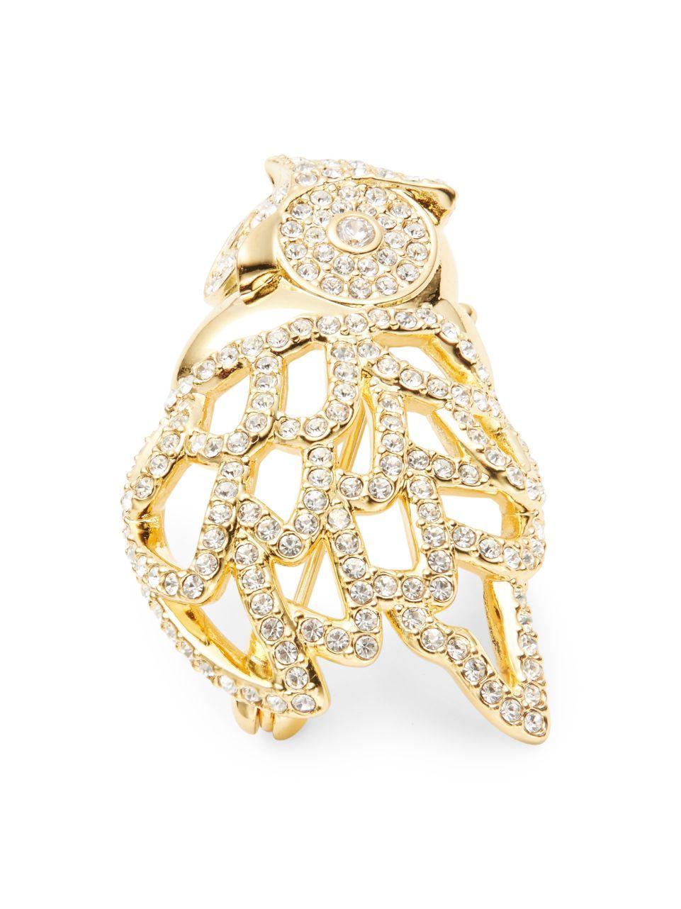 Nadri Goldtone Cubic Zirconia Pave Owl Pin In Metallic Lyst