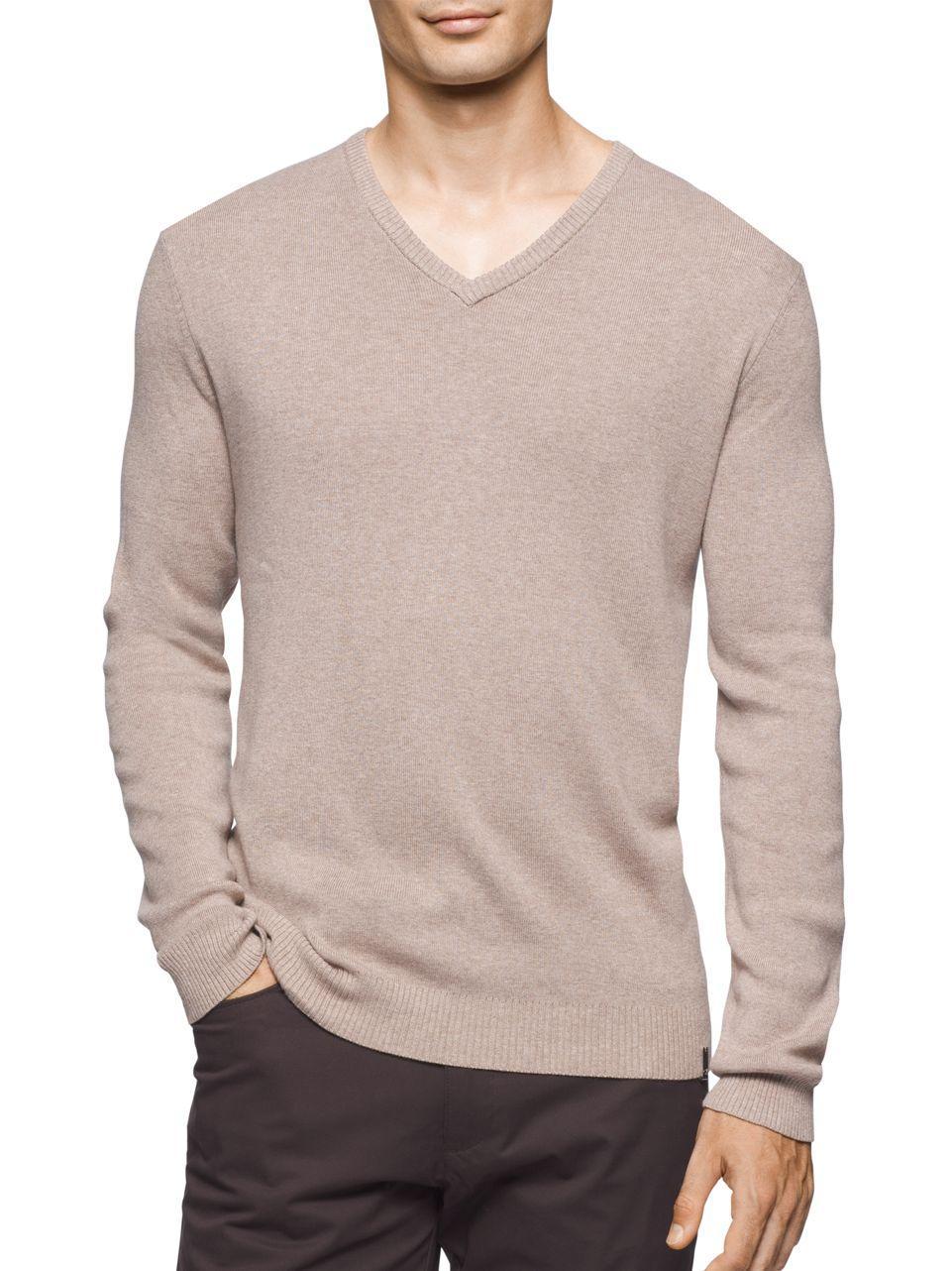 lyst calvin klein cotton v neck sweater for men. Black Bedroom Furniture Sets. Home Design Ideas