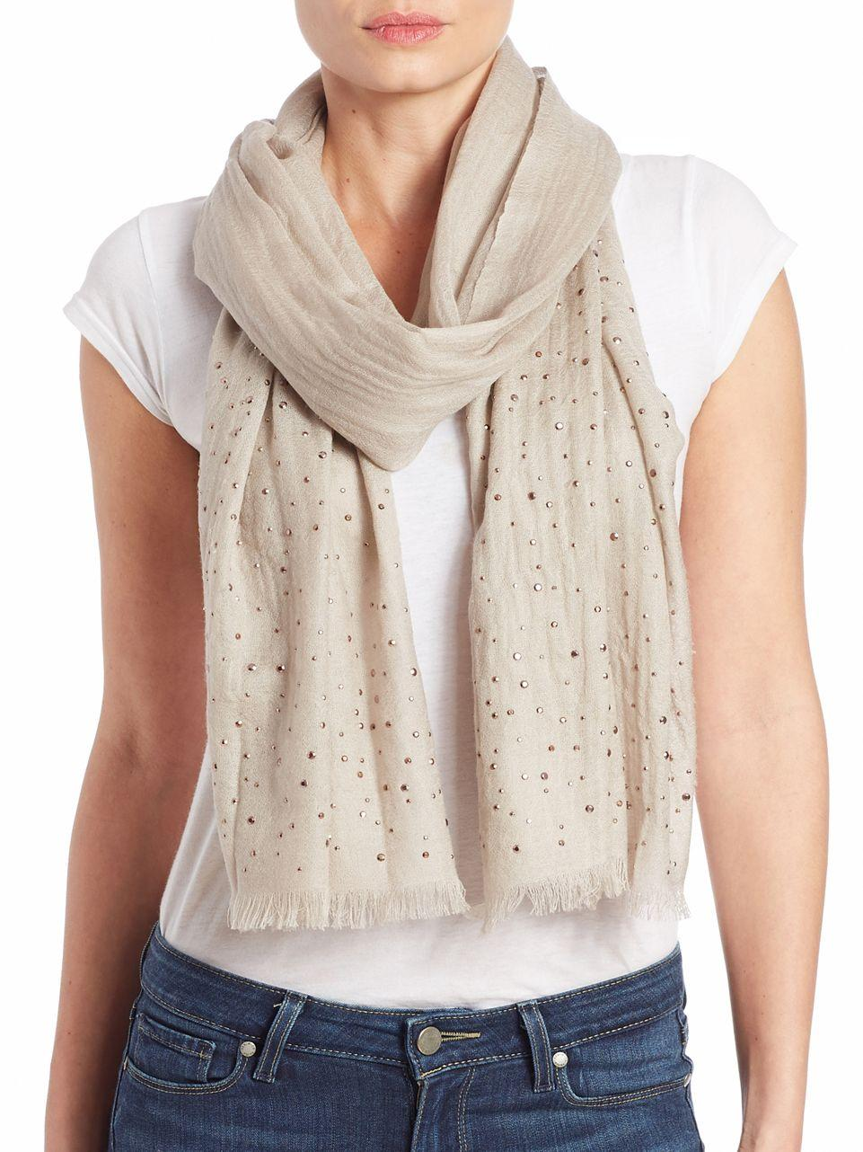 lord wool embellished scarf lyst