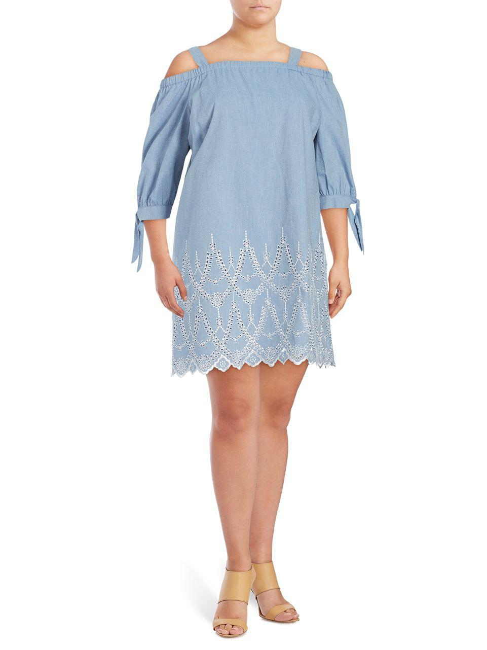 Lyst eliza j cold shoulder chambray denim tunic in blue for Chambray jeans