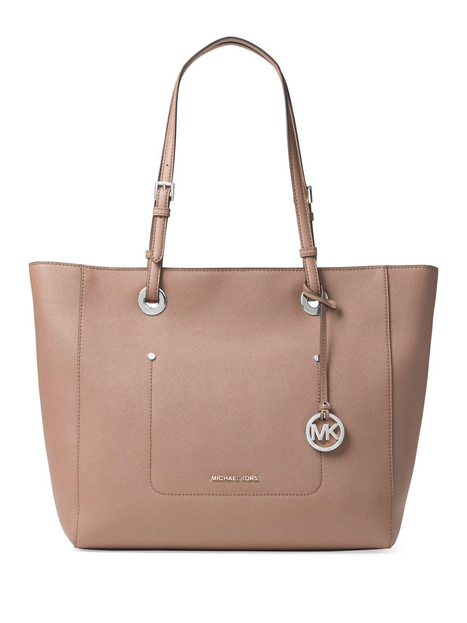 Lyst - Michael Kors Textured Saffiano Leather Tote 228e17acc9579