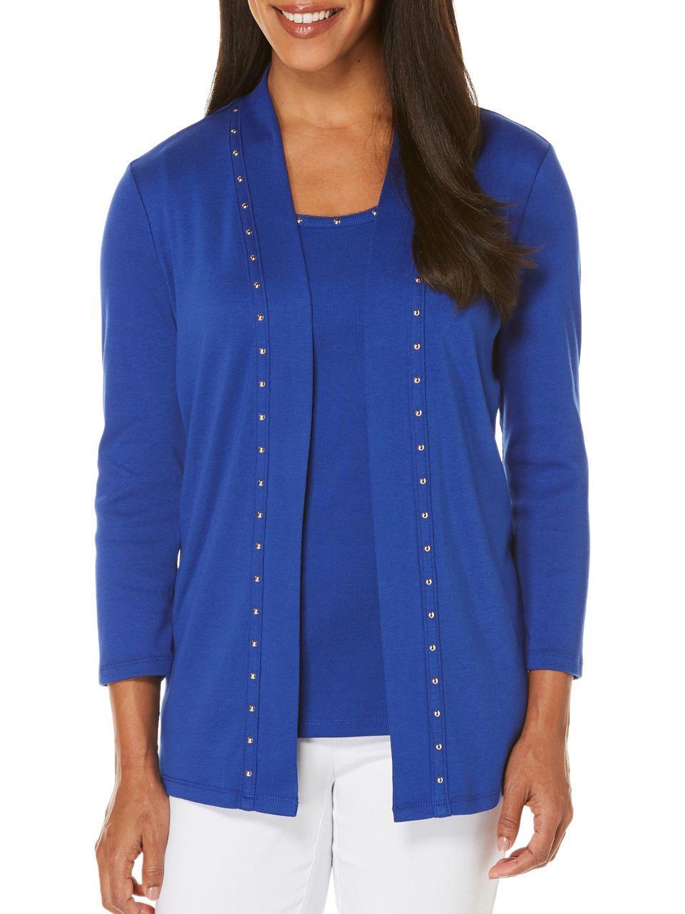 Lyst rafaella stud cotton cardigan in blue for Dress shirt studs uk