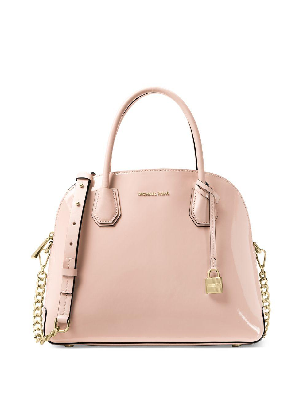 Lyst - Michael Kors Mercer Dome Satchel in Pink 074871ea7944d