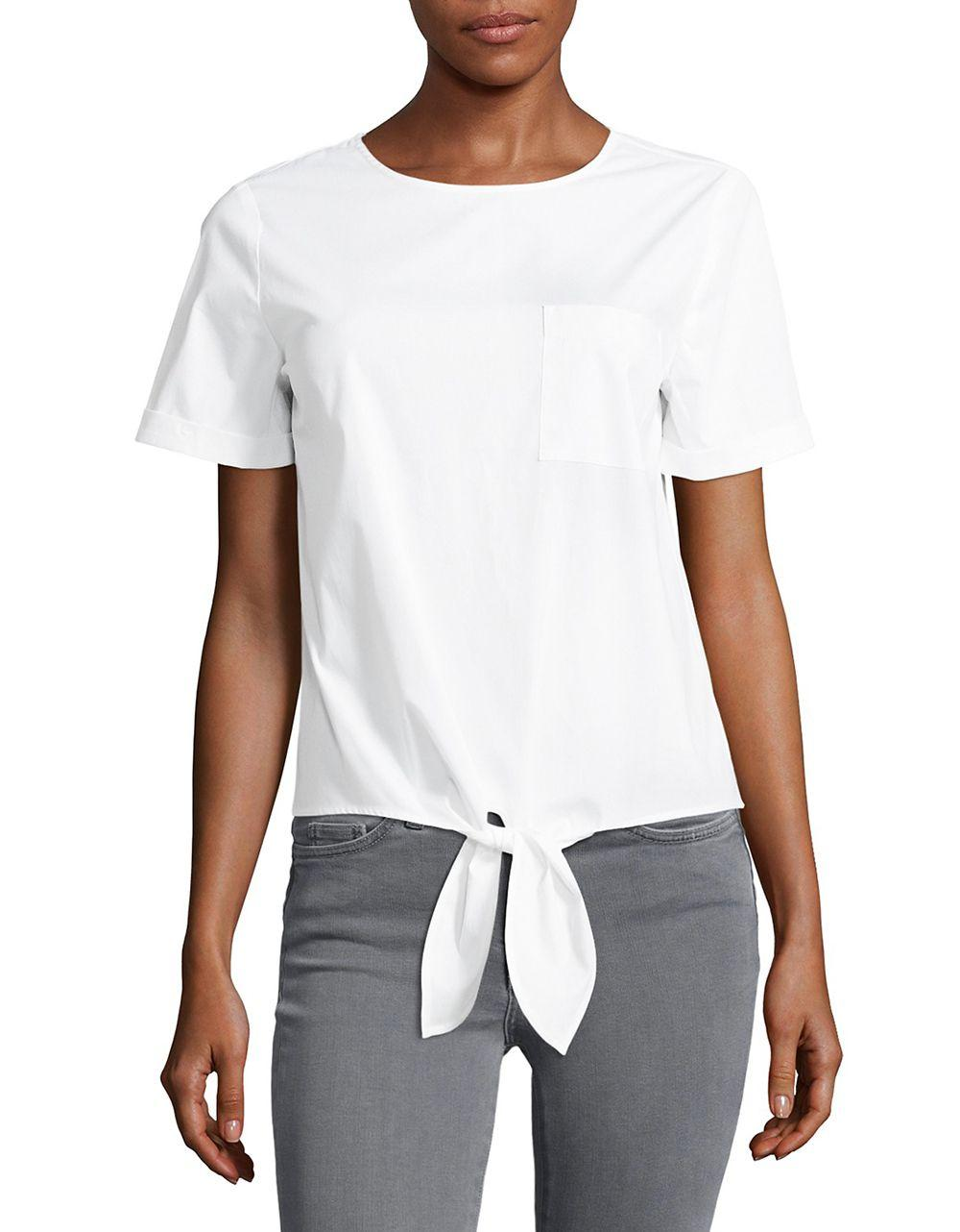 Lyst Lord Taylor Tie Accented Top In White