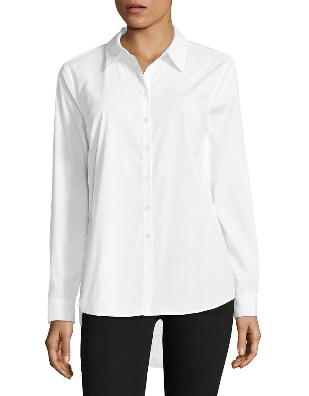 Lyst Lord Taylor Lace Back Button Down Shirt In White