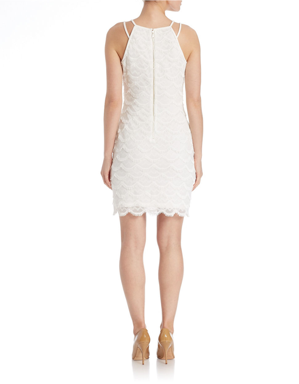 Guess sleeveless tiered sheath dress in white lyst for Guess dresses for wedding