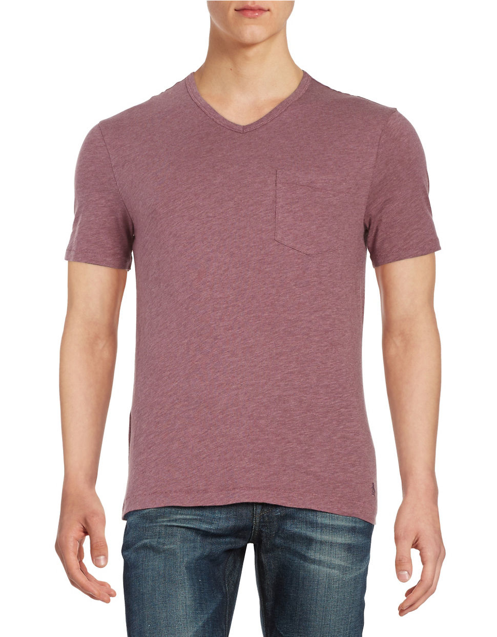 Original penguin v neck pocket tee in pink for men lyst for Men s v neck pocket tee shirts