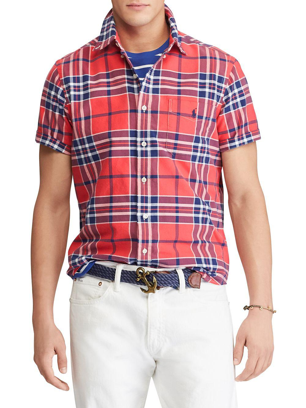 c5075d96b23 Lyst - Polo Ralph Lauren Classic-fit Plaid Oxford Shirt in Red for Men