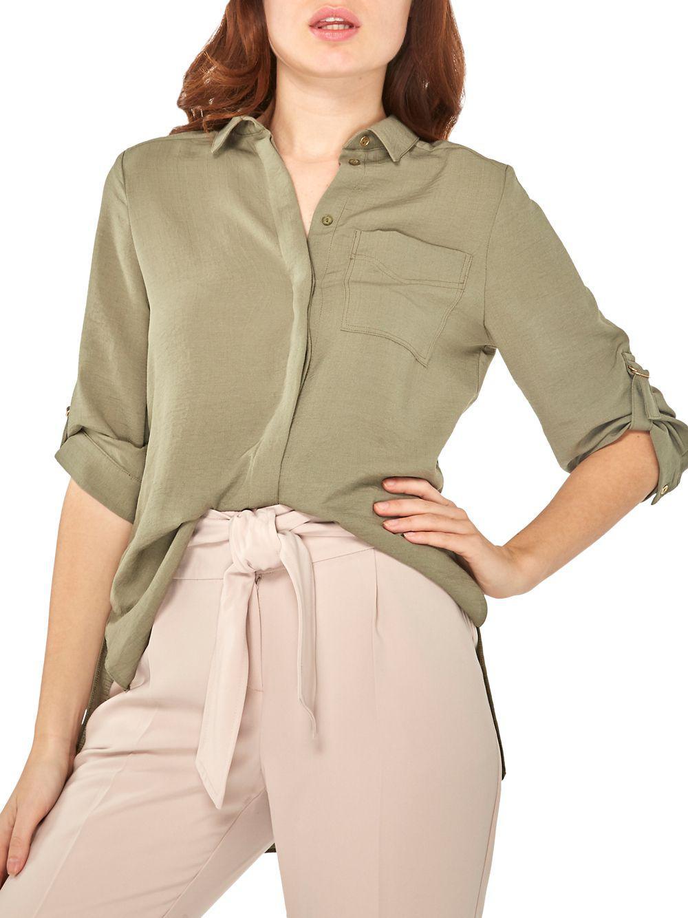 c59f74c12fdd3 Lyst - Dorothy Perkins Classic Roll-sleeve Shirt in Green
