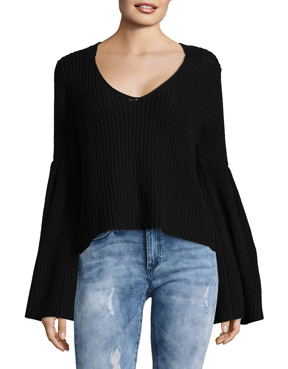 Free people Damsel Cotton Pullover Sweater in Black | Lyst