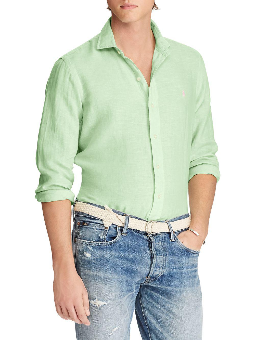 a4f12fdc4 Lyst - Polo Ralph Lauren Classic-fit Linen Sportshirt in Green for Men