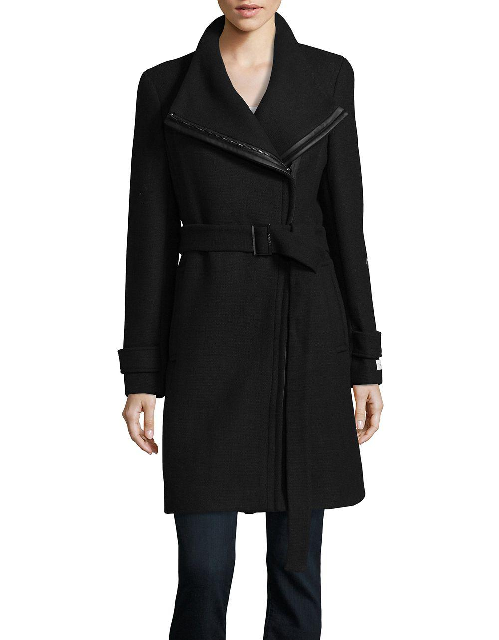 CALVIN KLEIN 205W39NYC. Women's Black Wrap Walker Coat