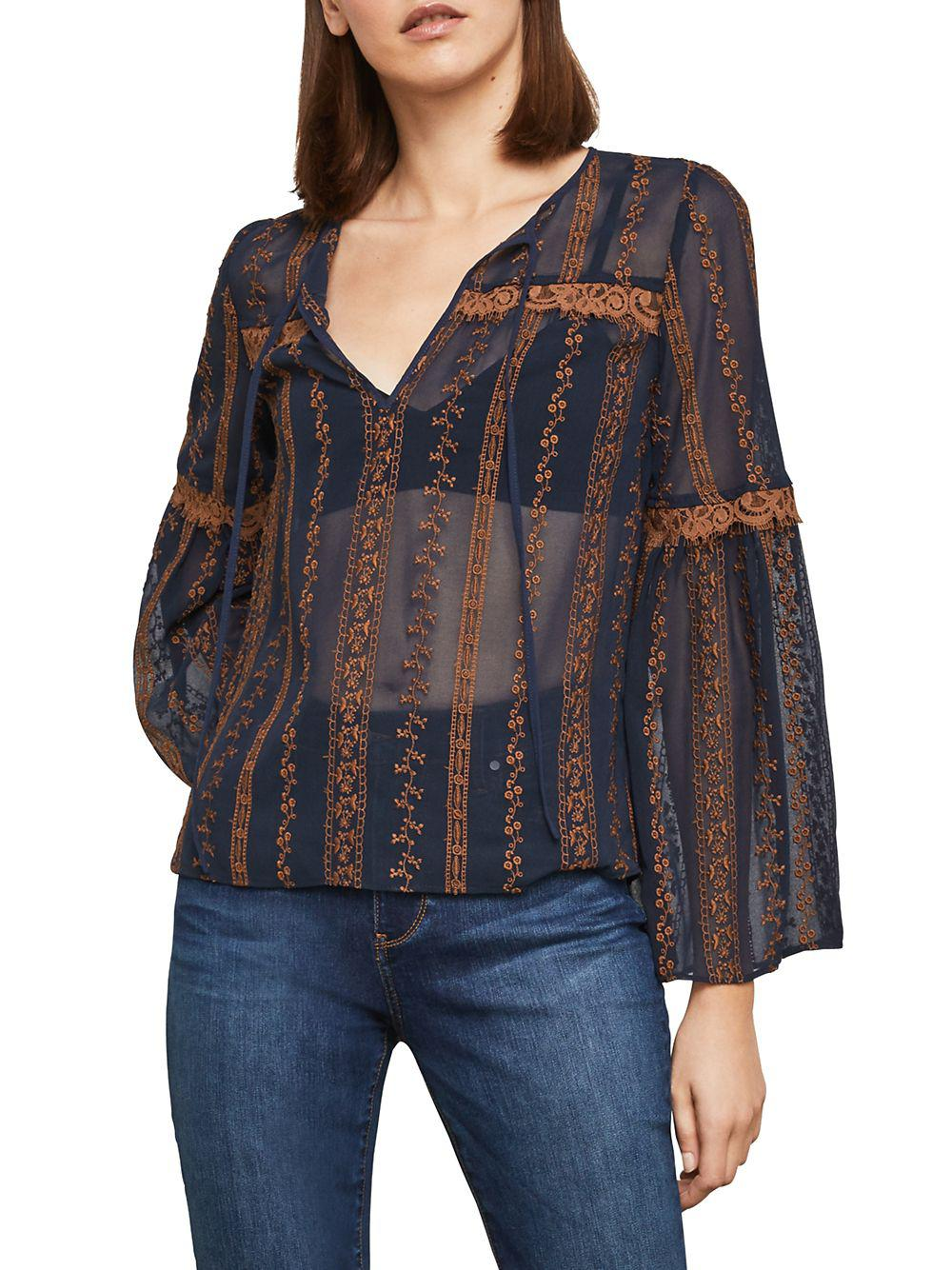 49758d41 Bcbgmaxazria Embroidered Sheer Bell-sleeve Top in Blue - Lyst