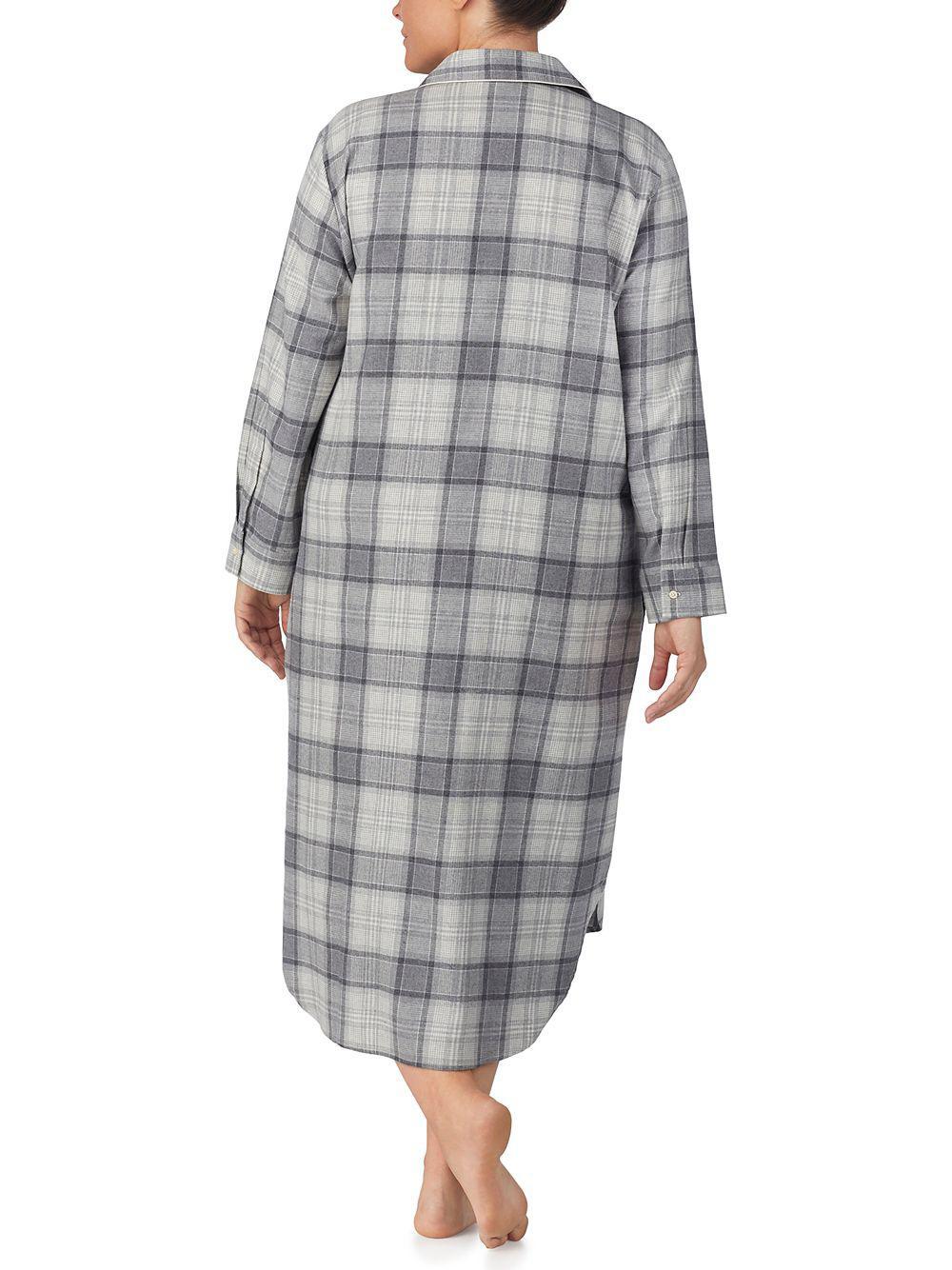 Lyst - Lauren By Ralph Lauren Plus Plaid Long Sleepshirt in Gray 09cc89e4c